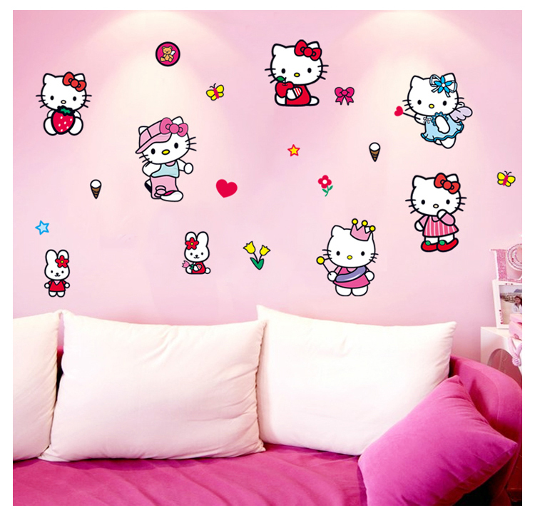 New Arrivals Fashion Cute Pink Hello Kitty Wall Sticker Wall Mural Home  Decor Room Kids 100 Pictures Gallery