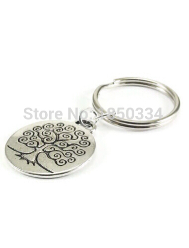 HOT Wholesale 50pcs Fashion Vintage Silver Alloy Chain  Tree of Life Charm Keychain Gifts Fit Key Chains Accessories Jewelry D57