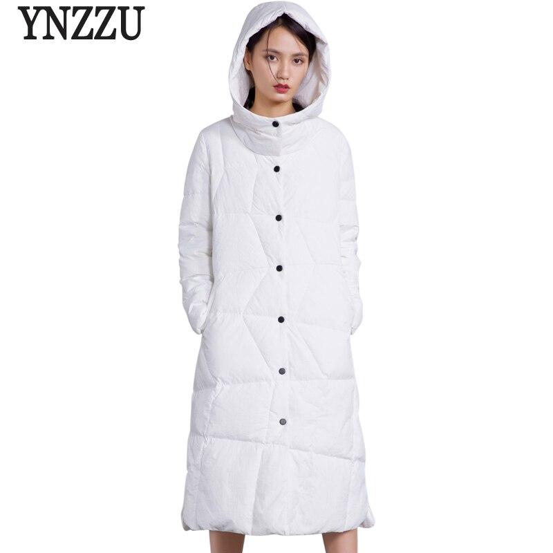 YNZZU Brand 2018 Winter Women   Down   Jackets Long Elegant 90% White Duck   Down     Coats   Hooded Thick Warm Women's Snow Outwears O597