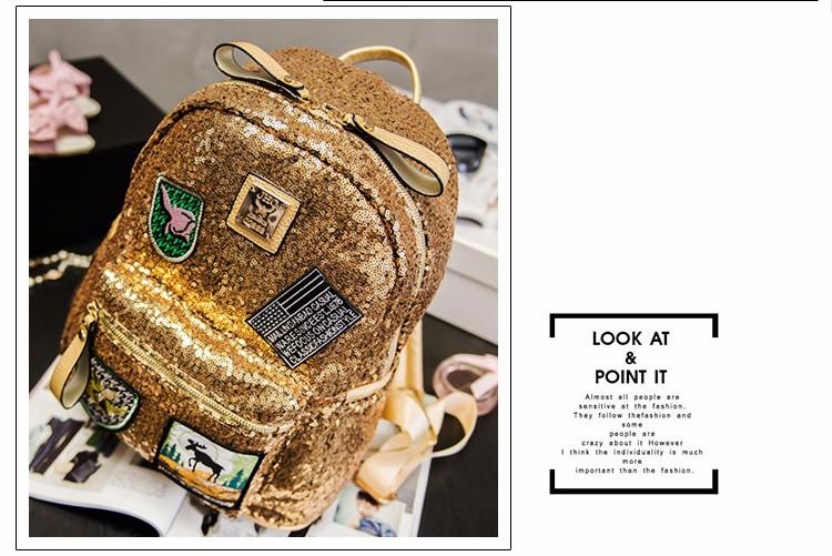 Female star with a backpack bags 2019 spring backpack bag bag Korean tide Sequin sequins 12