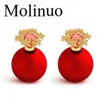 Molinuo three colors snowflake zircon earrings S925 silver Korean fashion simple pearl