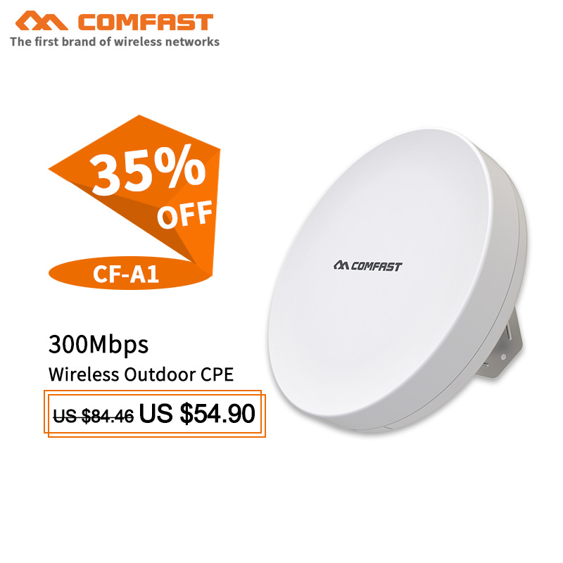 1-2KM long range COMFAST outdoor wireless CPE WDS bridge CF-A1 poe WIFI router WIFI amplifier extender repeater for IP camera comfast wireless bridge 5 8ghz 300mbps mini outdoor cpe wifi router for ip camera project 1 2km long range amplifier cf e120a