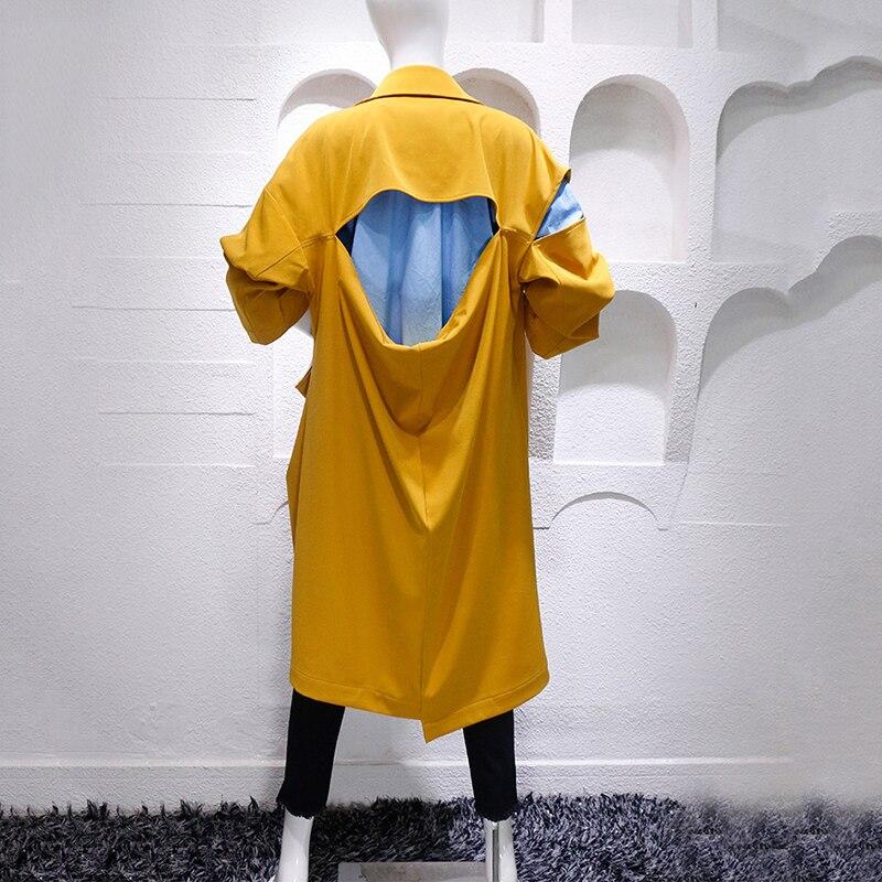 vent Manteaux Yellow Les Manches coat Grand Annonce Longues Pour Femmes Coréennes 2019 Nouvelle Lâche Coupe À Printemps Manteau Longue Trench N0X8nOwkP