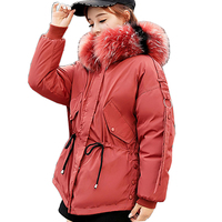 2018 Big Fur Parkas Female Women Winter Coat Thick Cotton Winter Jacket Womens Outwear Parkas for Women down Warm jacket