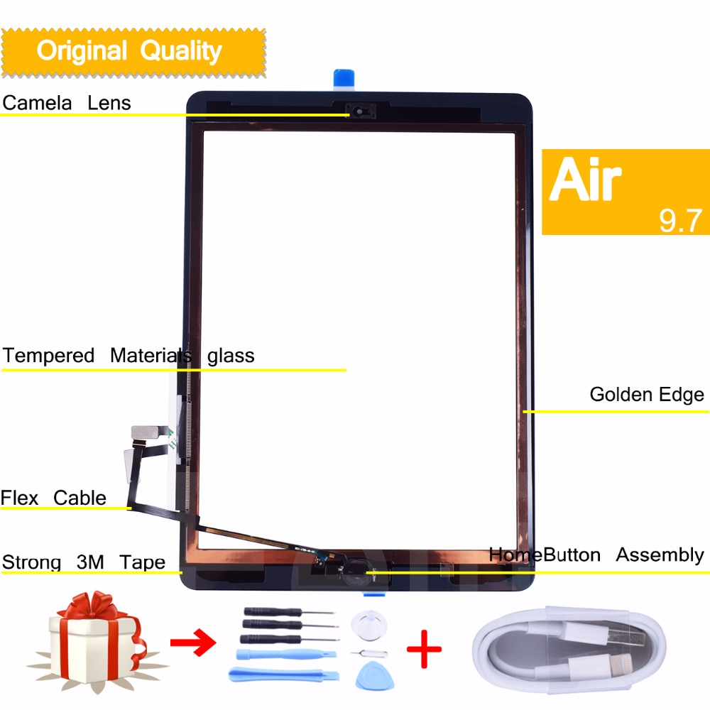 10pcs original new for apple iPad 5 tablet Touch Screen Digitizer with Home Button Front Glass for ipad air Touch Panel f930got bwd c f930got bwd for using front glass touch panel