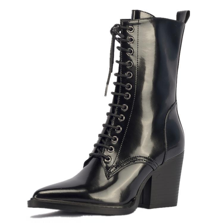 Marque Chaussures Cool Dames Feminina De Croix As Zapatos Bottes Femmes Pointu Show Mujer Botas Cuir attaché Moto as Bout Show Bota 6qIrwOq