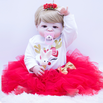 23inch Silicone Girl Reborn Baby Doll Toys and Soft red princess dress Lifelike Newborn Babies Girls Christmas gift Doll Bebe