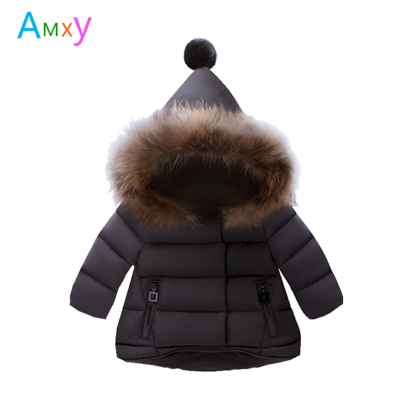 AIMEIXIUYI Children Real Raccoon Fur Cotton Padded Jacket Coat Winter Kids Clothes Boys Girls Warm Hooded Parkas Outerwear boys winter jacket cotton padded fur collar hooded long kids outerwear coat thicken warm boy winter coat children clothing