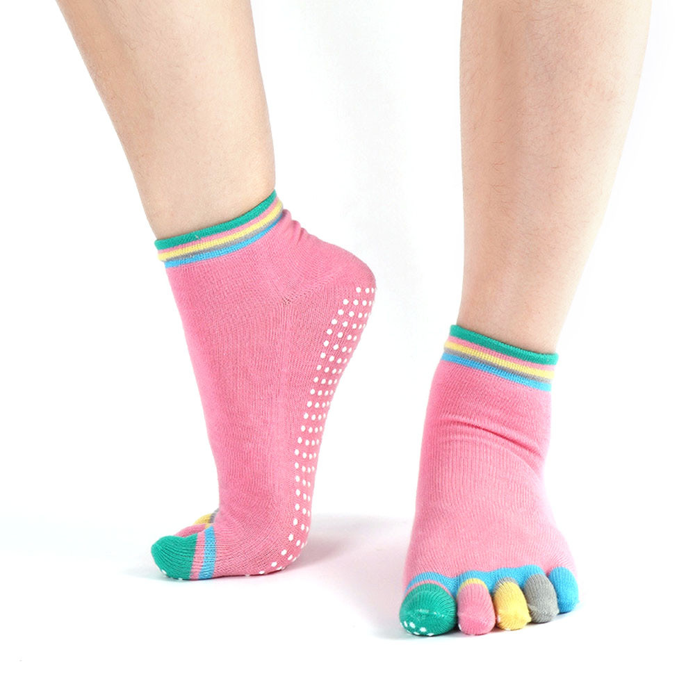 Full Grip Exercise yoga products socks Cotton Yoga Gym Non Slip Massage Toe Socks Full Grip With Socks Heel non slip toeless yoga socks with grip for women