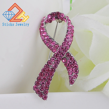 AIDS Day/Breast Cancer!Pink Ribbon Alloy rhinestone crystal brooches for women! best gift!