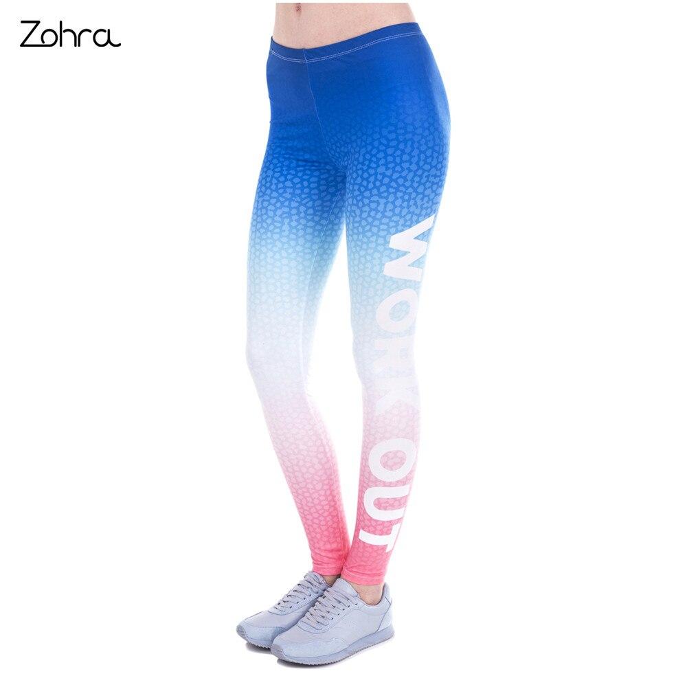Zohra 2017 Fashon Slim Woman Legins Ombre Gradient Printing Work Out Legging High Waist Women Leggings