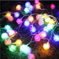 6M 40LED SnowFlake Cotton Balls Battery Operated Led String Fairy Lights Xmas Party Wedding Luminarias Home Decoration