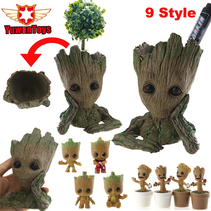 Guardians Of The Galaxy Avengers 3 Movie Toys Flowerpot Baby Action Figures Cute Home Decor Model Toy Pen Pot Holder Vessel PVC ...