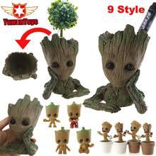 Guardians Of The Galaxy Movie Toys Flowerpot Baby Action Figures Cute Home Decor Model Toy Pen Pot Holder Vessel PVC недорого