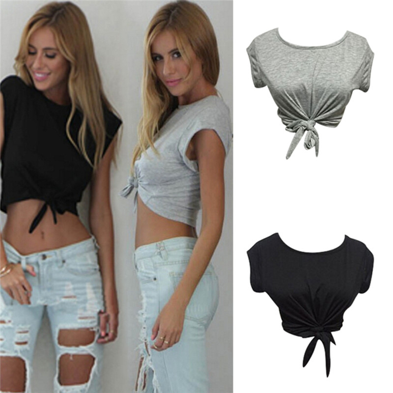 0491e6d52622f8 Women Knotted Tie Front Crop Tops Cropped T Shirt Casual Blouse Tanks camis  White Grey Color