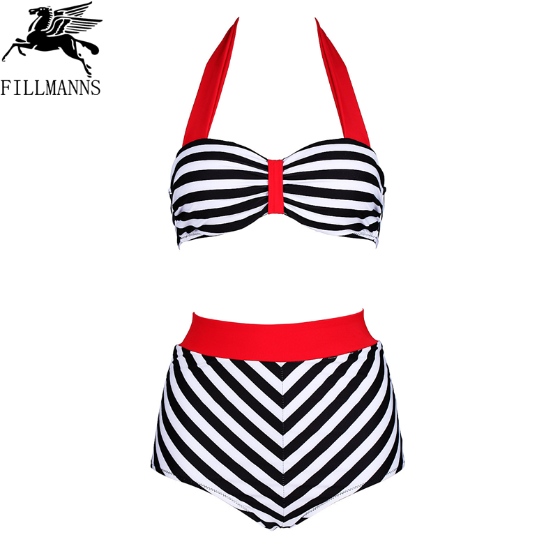high waist bikini Women Swimsuit Push Up Bikini Set Beach Wear Retro Vintage Bathing Suits Halter Top Swimwear Plus Size 3XL 4XL 2017 one piece swimsuit sexy push up swimwear female plus size swimwear red white may beach halter top bathing suits 3xl bikini