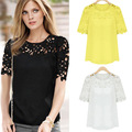 Popular Fashion Large size 5XL ladies' Summer Hollow Out Patchwork Short sleeve Chiffon O-Neck Solid Lace Pullover blouse 1E237