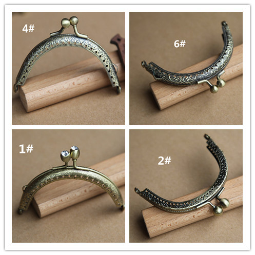 Purse frame DIY manual accessories export 8.5 embossed / smooth classical button half bronze gold export quality
