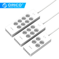 ORICO Power Strip Electrical Socket EU Plug 6 Outlet Surge Protector EU Power Strip with 5x2.4A USB Super Charger Ports White