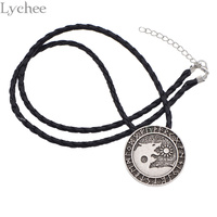 Lychee Gothic Punk Metal Viking Wolf Necklace Rope Chain Necklace Jewelry For Men Women