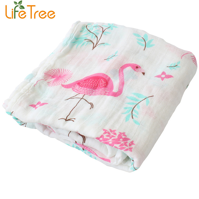 Baby Blanket For Summer Flamingo Pattern Swaddle For Newborns Cotton Bamboo Fiber Soft Breathable Muslin Baby Bedding Infant