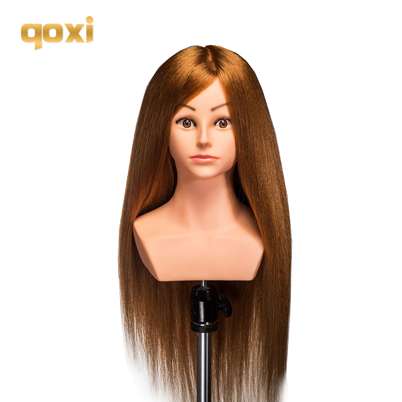 Qoxi Professional training heads with shoulders 80% real human hairs can be curled practice Hairdressing mannequin dolls Styling image