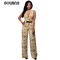 Zomer Sexy Club Jumpsuits Voor Vrouwen 2016 Nieuwe Hot Mode Wit Geel Tapestry Print Belted Jumpsuit
