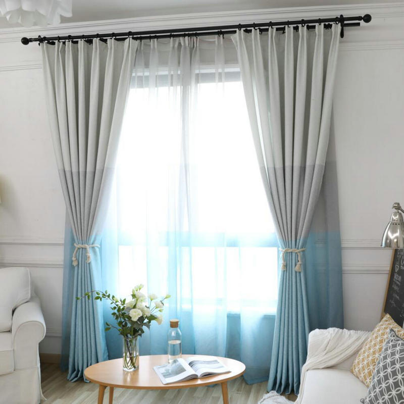 Blackout Fabric For Curtain: Nordic Modern Gradient Blackout Curtains For Living Room