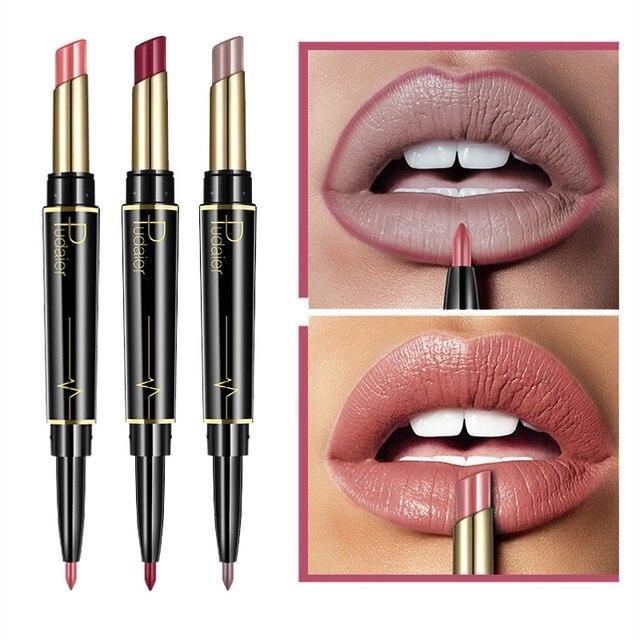 Pudaier marca de pintalabios mate Color cosméticos a prueba de agua doble acabado de larga duración labios rojo desnudo mate delineador lápiz labial mate