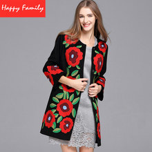 Women's Winter Coat Brands 2017 Fashion Runway Embroidered Cashmere Slim Thick Coat Big Red Flower
