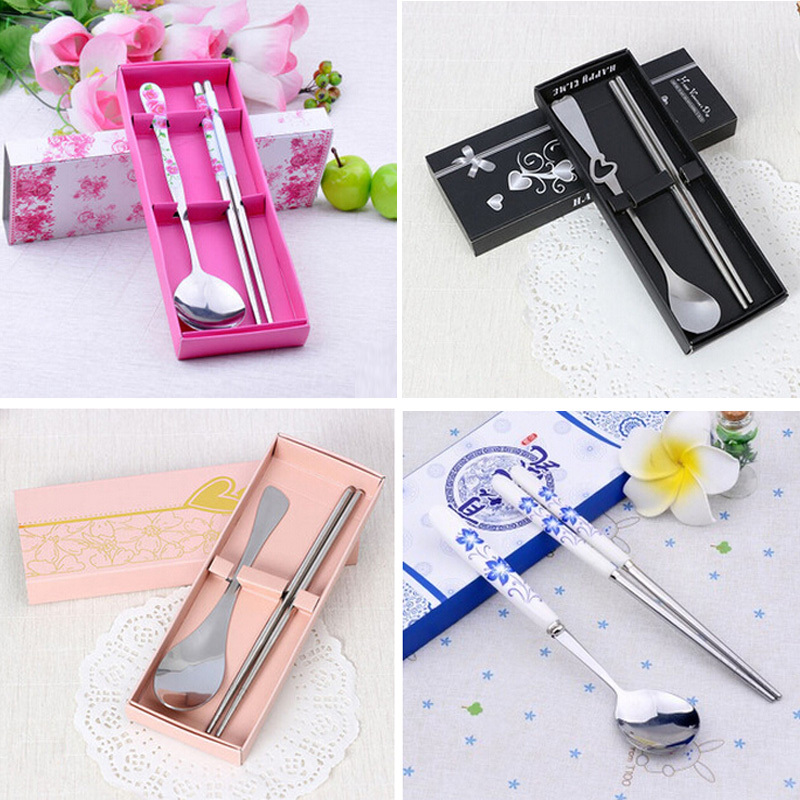 Wedding Gift Chopsticks Spoon Fork Cutlery Set Stainless Steel 2 ...