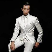 White Satin Men Suits for Wedding Pants Custom Made Groom Tuxedo Vintage Groomsmen Blazers 3Pieces Terno Masculino