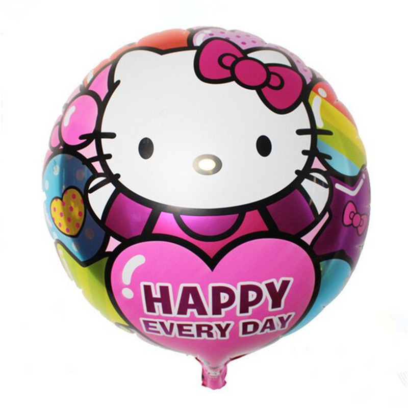 50pcs/lot Pink Foil Cat Balloons Happy Birthday Balloons Gift Party Supply 45*45