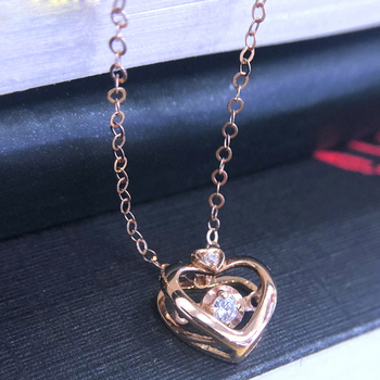 SA SILVERAGE 18K Rose Gold Heart Pendant Necklaces for Woman Diamond Pendant Chain Link Necklaces Real Gold Jewelry 4