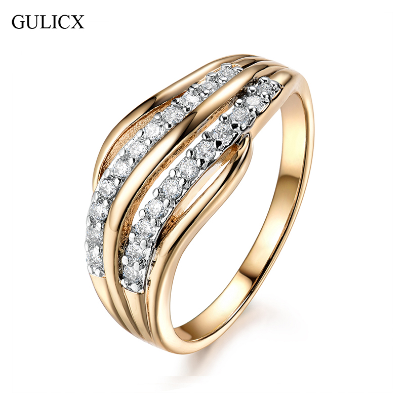 GULICX New Fashion Female Wedding Bands Jewelry Anello di fidanzamento color oro per le donne CZ Stone Paved Promise Rings