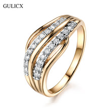 GULICX New Fashion Female Wedding Bands Jewelry Gold-Color Engagement Ring for Women CZ Stone Paved Promise Rings(China)