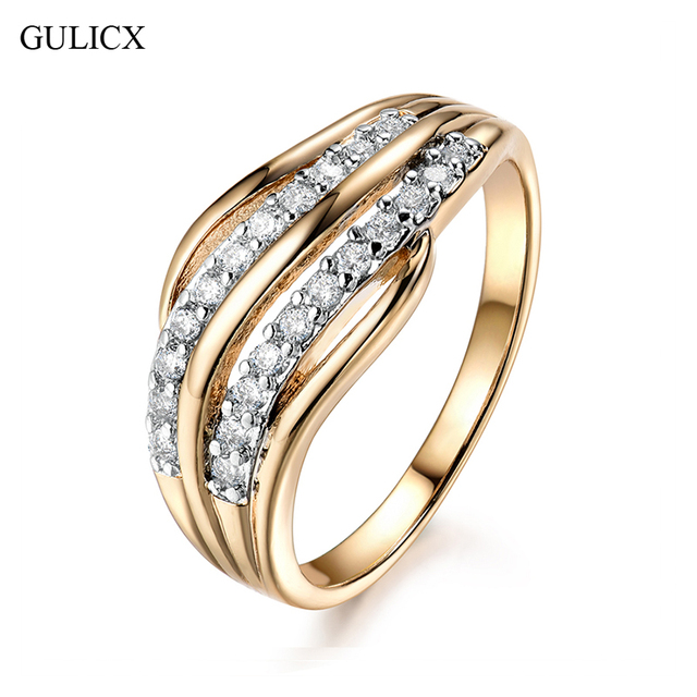 GULICX New Fashion Female Wedding Bands Jewelry Gold-Color Engagement Ring for W