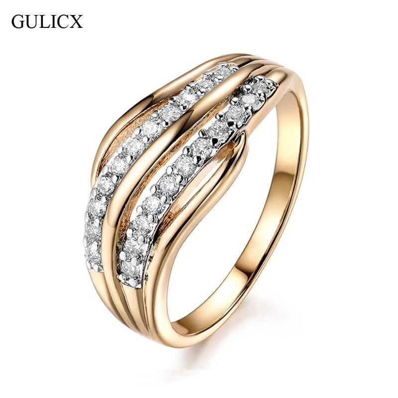 GULICX Nova Moda Feminina Faixas De Casamento Anel de Noivado para As Mulheres de Jóias de Ouro-Cor CZ Pedra Pavimentada Promise Rings