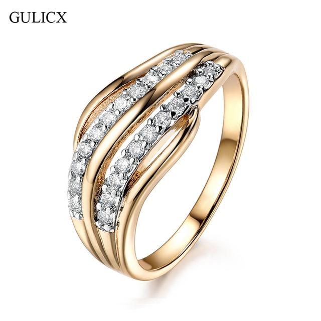 e4fe21657618 GULICX новые модные женские обручальные кольца ювелирные изделия  золото-цвет обручальное кольцо для женщин CZ