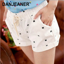DANJEANER короткие брюки женские летние с высокой талией с принтом головы кота повседневные хлопковые шорты модные байкерские шорты с завязкам...