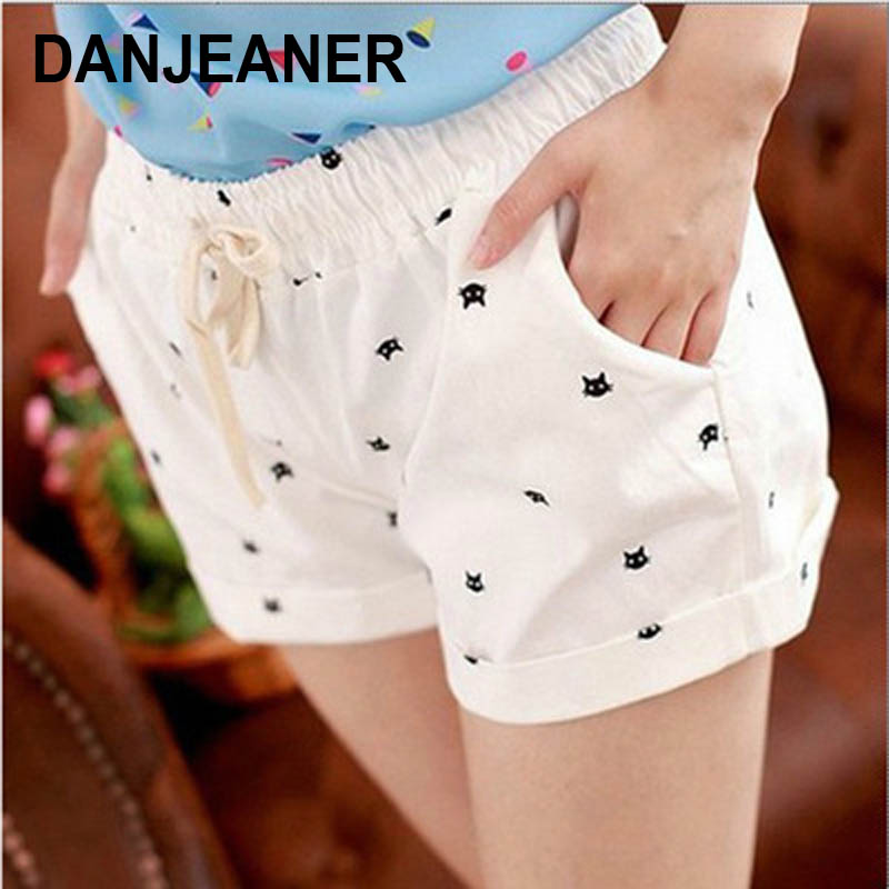 DANJEANER Short Pants Women Summer High Waist Cat Head Printed Casual Cotton Shorts Fashion Drawstring Biker Shorts Beach Shorts