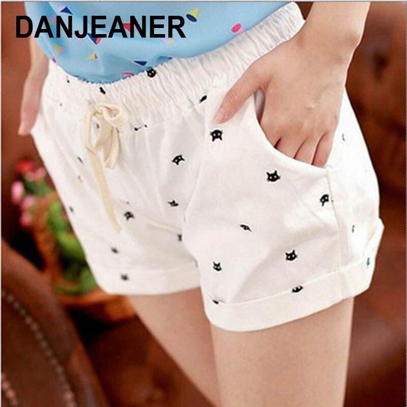 DANJEANER Short Pants Women Summer High Waist Cat Head Printed Casual Cotton Shorts Fashion Drawstring Biker Shorts Beach Shorts