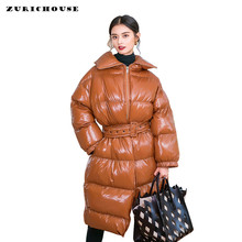 ZURICHOUSE 2019 Winter Coats Woman Luxury Glossy Patent Leather Down Padded Jacket Long Windproof Snow Warm Parka Female(China)