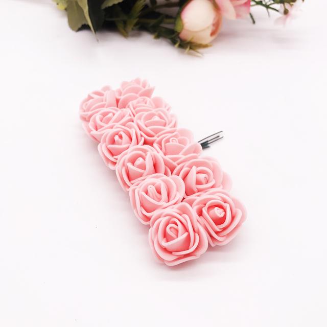 12 unidades/lote flor Artificial Mini rosa de espuma para la decoración del hogar de la boda DIY artesanal corona nupcial regalo Scrapbooking flor falsa