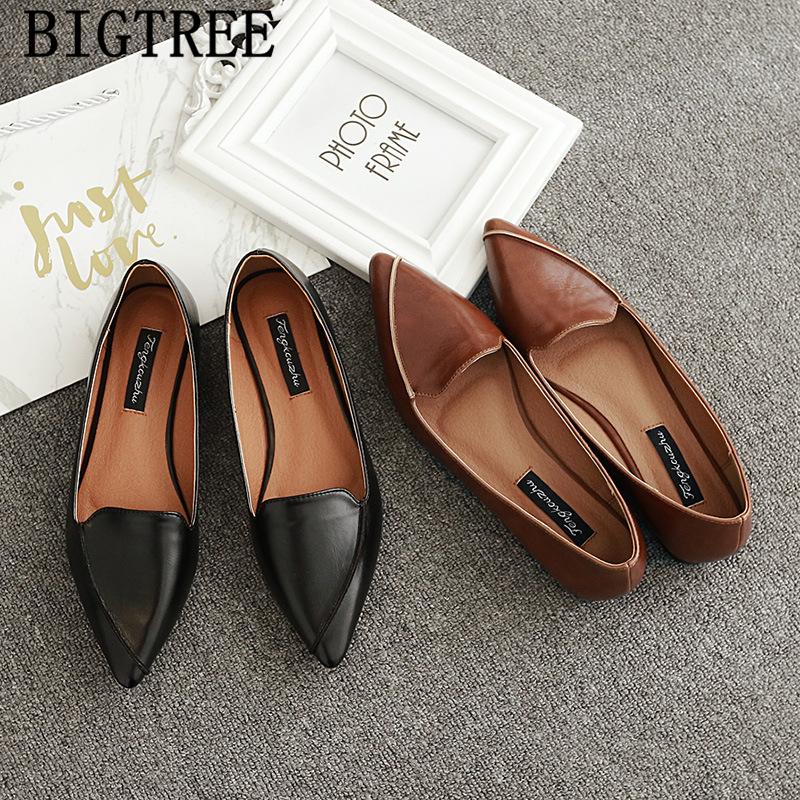 Leather Shoes Women Comfort Shoes Loafers Women Pointed Toe Flats Vintage Shoes 2020 Women Zapatillas Mujer Sapato Feminino Buty