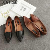 Skórzane buty damskie wygodne buty mokasyny kobiety pointed toe mieszkania w stylu vintage buty 2019 kobiety zapatillas mujer sapato feminino buty