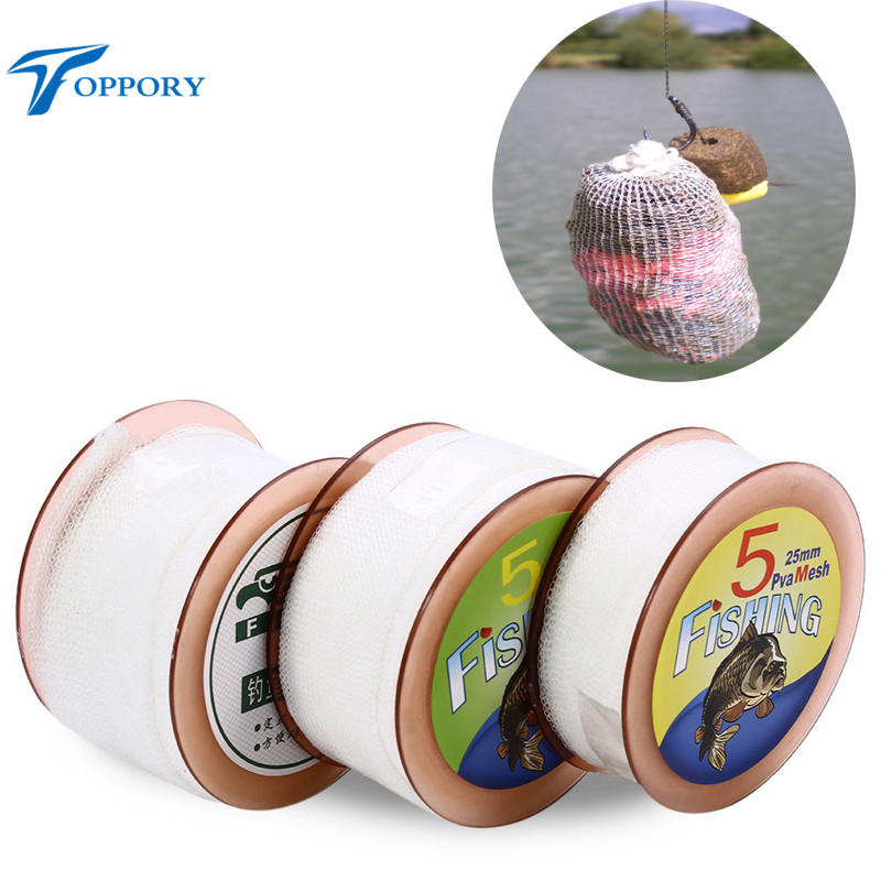 Topproy 5M PVA mesh 25 mm/37 mm/44 mm width PVA bag for carp fishing bait bolies feeding water soluble bags Rigs accessories все цены