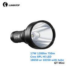 Люминесцентный GT мини 17 Вт 1200lm 750 м благодаря светодиоду Cree XPL привет светодиодный 18350 18650 Батарея фонарики с одной стороны Управление IP68 фонарик из алюминиевого сплава лампа