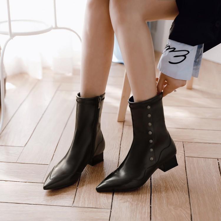 Noir Talon Simple Chaussons De Bottes En Chunky Femmes Blanc Rangée Cuir Zapatos Pointu Rivet Cheville Noir Dames Mujer Chic blanc Pour Bout Piste 4RLq53Aj