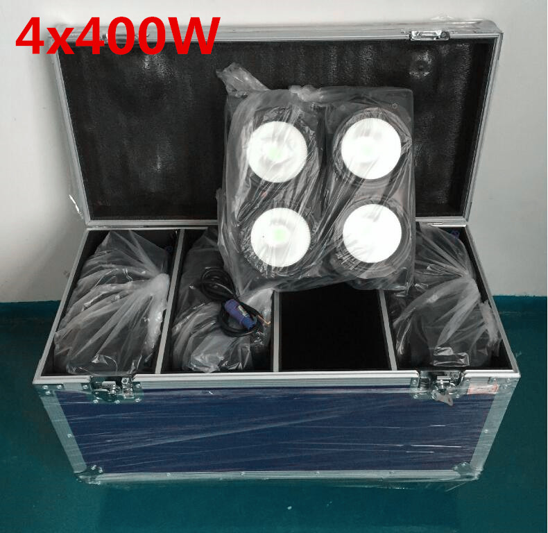 Flight Case with 4 PCS 4x100W blinder light 4eye COB LED Wash Light High power DMX Stage Cool white warm white UV light blinder led cob 4x100w led blinder light 400w dmx512 2 channels cold warm white blinder stage effect lighting dj party led lamp